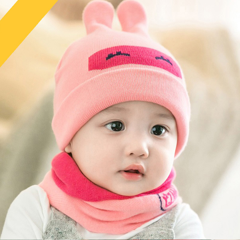 Unisex 2 pieces/set=1 hat+1 scarf Autumn winter new baby hat rabbit ears Infant Knitted Warm Cotton Hats Lovely Beanies 14-566