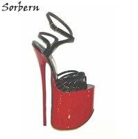 Sorbern 18 см 22 см ультра тонкий высокий каблук женские босоножки летняя Дамская обувь; Большие размеры 34–43 на толстой платформе с перекрестной