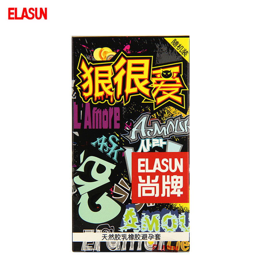 ELASUN 10 pcs Fiercely Love Condoms Random Packet Natural Colorless Transparent Latex Rubber Condom
