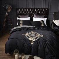100% Cotton Black Golden Luxury Bedding Sets Soft Bedclothes King/Queen Size 4Pcs Duvet cover Bed sheet set Linens 36