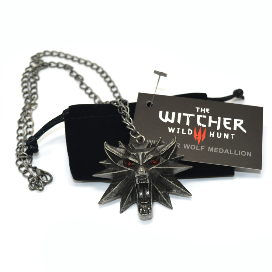 The Witcher 3 Selvatica Caccia Medallion Ciondolo e Collana Chain 1 Borsa e 1 Carte All'ingrosso Prezzo A Buon Mercato