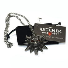 The Witcher 3 Wild Hunt Medallion Pendant and Chain Necklace 1 Bag and 1 Card Wholesale Cheap Price(China)