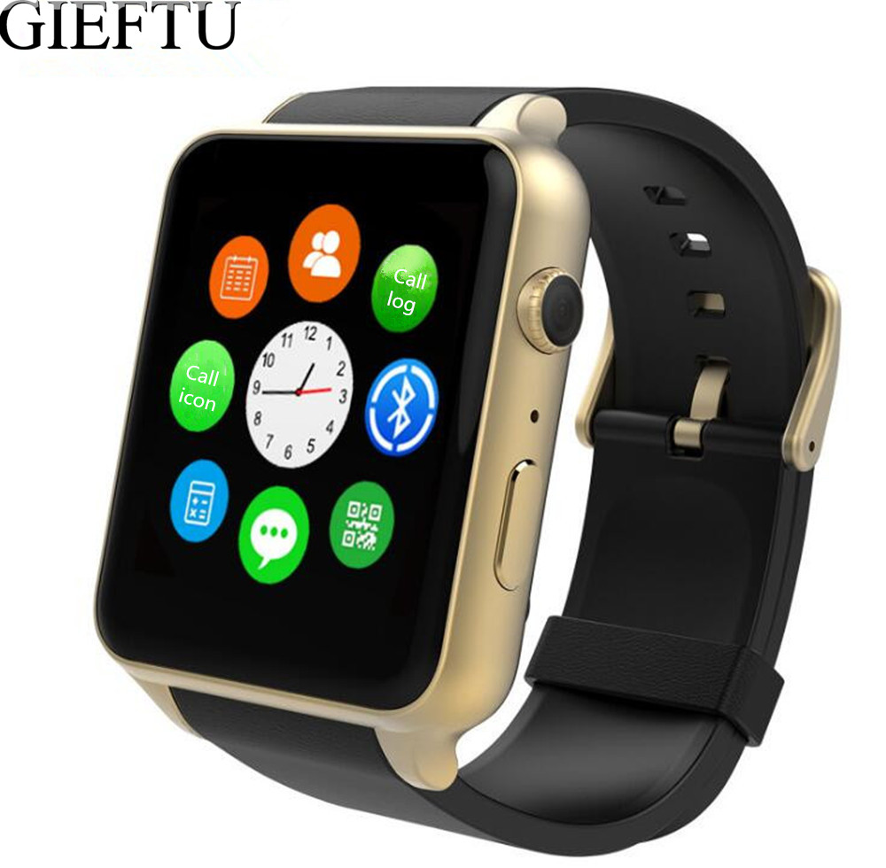 GIEFTU GT88 GSM SIM Card Bluetooth Sports Smart Watch with Camera Heart Rate Monitor Smartwatch for Android and IOS free shipping smart watch c7 smartwatch 1 22 waterproof ip67 wristwatch bluetooth 4 0 siri gsm heart rate monitor ios