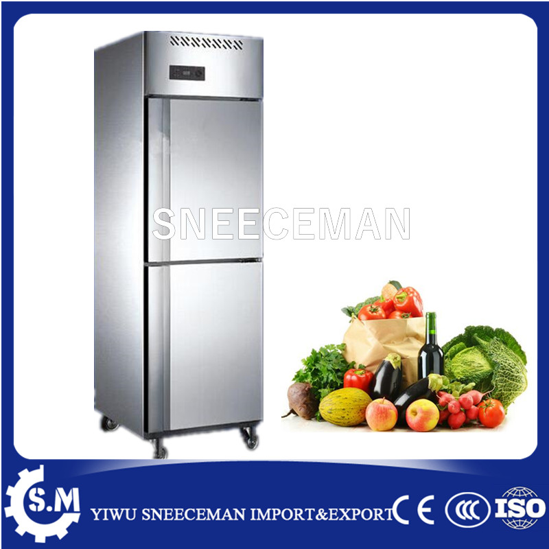 500L New Style 2 Doors Stainless Steel Upright Commercial Deep Freezer