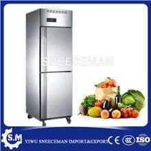 500l novo estilo 2 portas de aço inoxidável vertical comercial congelador profundo