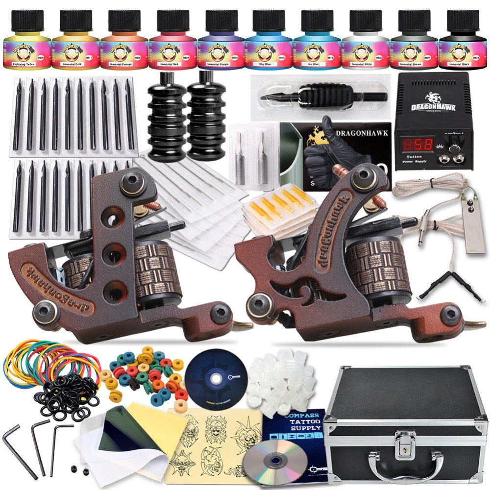 Complete Tattoo Kit Professional Tattoo Liner Shader Machines Tattoo Guns 10 Color Inks Tattoo Power Supply professional tattoo kits liner and shader machines immortal ink needles sets power supply