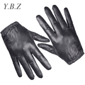 YBZ Fashion 2016 Men's Gloves Wrist Finger Driving Glove Solid Adult Mittens Real Genuine Leather Guantes Tacticos G219