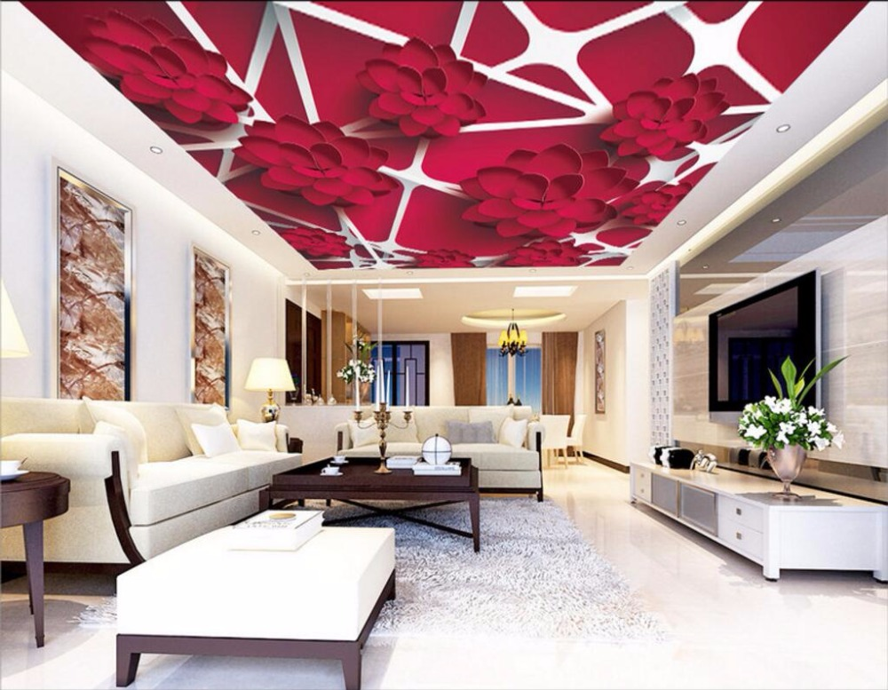 Custom photo 3d ceiling murals wallpaper Red flower grid lines painting 3d wall murals wallpaper for living room 3d ceiling murals wallpaper aurora zenith living room ceiling mural custom photo murals wallpaper 3d ceiling