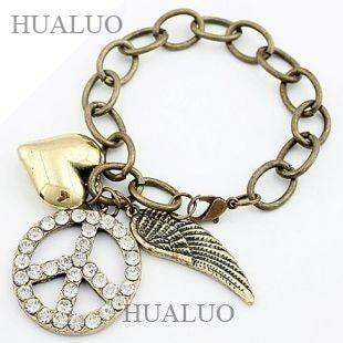 2016 Europe & America New Style Peace Symbol & Wings & Heart Bracelet Hot Sale B122
