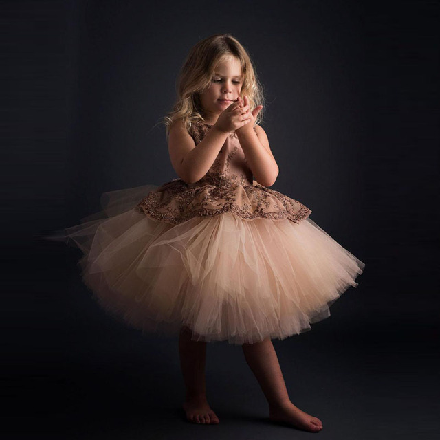 fe2f96604d Champagne Lace Lovely Flower Girl Dresses Ball Gown Tutu Cute Knee-Length  Peplum Lace Applique Short Kids Prom Dress Custom Made
