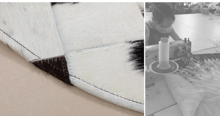 Американский стиль круглой формы из натуральной воловьей кожи прошитый ковер, натуральная коровья кожа мех ковер для гостиной спальни украшения