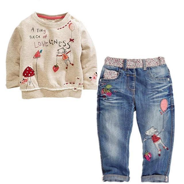 2016 Spring Children Girls Suits 2 PCS Cowboy Sets Casual Print Baby Tops +Pants Denim Children Girls Clothing Sets