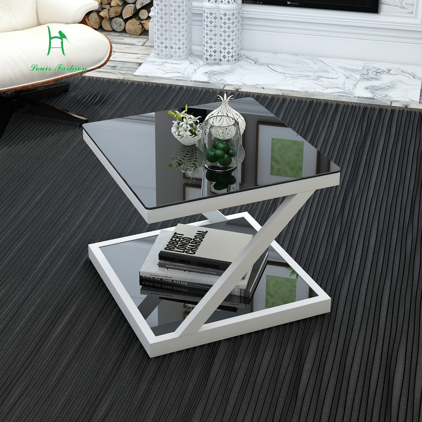 Simple modern edge tempered glass small coffee table ...