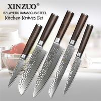 2018 XINZUO 5 PCS Kitchen Knife Set Japanese Forged Steel VG10 Damascus Steel Kitchen Knives Bread Cleaver Chef Utility Santoku