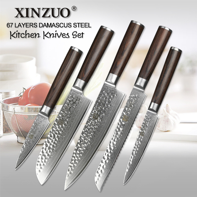 XINZUO 5 Pcs Kitchen Knives Set Japanese VG10 Damascus Steel Kitchen Knife  Set Cleaver Chef Utility