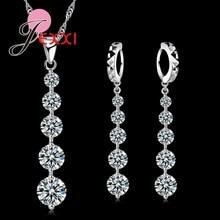 Горячая Мода 925 пробы серебро роскошные длинные кисточки Висячие ожерелье серьги набор элегантный для женщин невесты Свадебные Ювелирные наборы Популярные