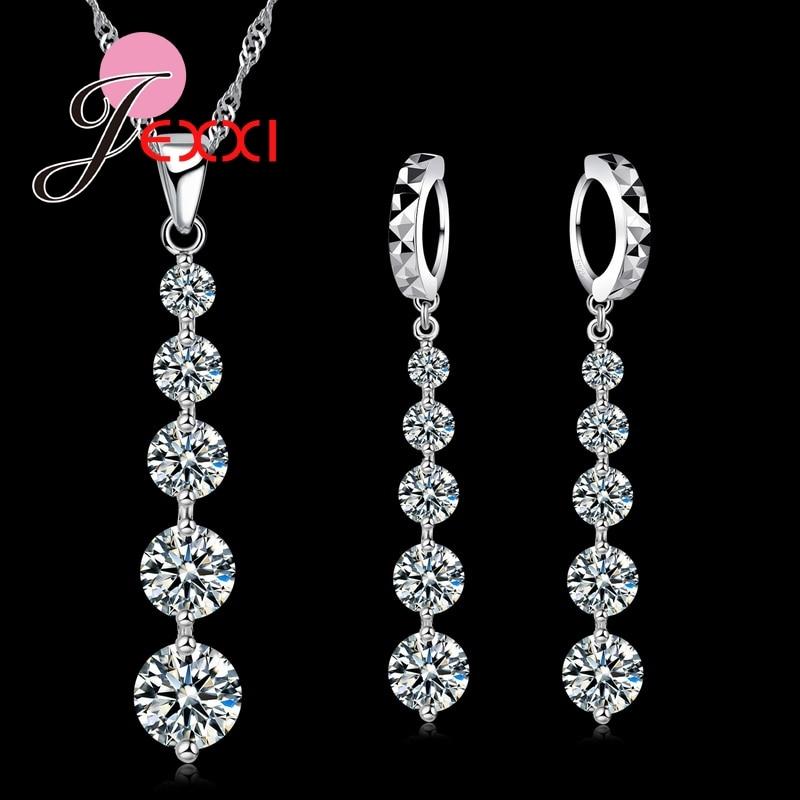 Hot Fashion 925 Sterling Silver Luxury Long Tassel Drop Necklace Earrings Set Elegant Women Bride Wedding Jewelry Sets Popular