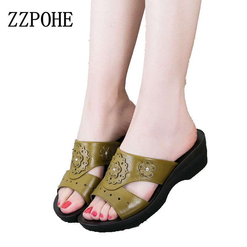 ZZPOHE summer leather fashion woman slippers female casual slope thick bottom slip mother slippers ladies soft bottom slippers 2018 summer ladies thick bottom drag slope beach shoes for women casual non slip flat bottomed slippers female slides shoes
