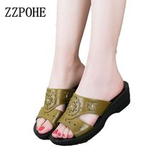 ZZPOHE summer leather fashion woman slippers female casual slope thick bottom slip mother slippers ladies soft bottom slippers