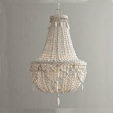 Retro Industriële Houten Hanglamp Vintage Wit/Grijs Hout Kraal Schorsing Verlichting Slaapkamer Eetkamer Loft Nordic Lamp