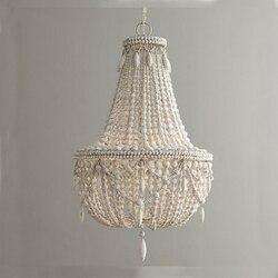 Retro industrie holz anhänger licht vintage weiß/grau holz perle suspension beleuchtung schlafzimmer esszimmer loft nordic lampe