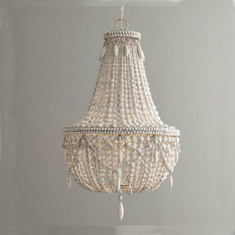 retro industrial wood pendant light vintage white/gray wood bead suspension lighting bedroom dining room loft nordic lamp