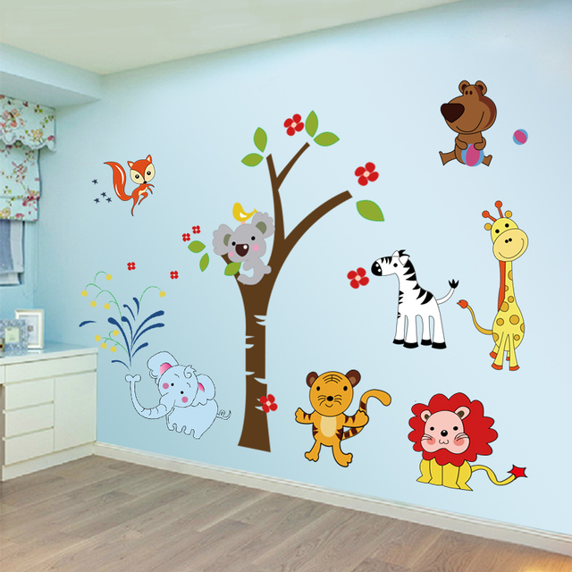 Cartoon Zoo Pattern Wall Stickers Kids Room Kindergarten Living ...