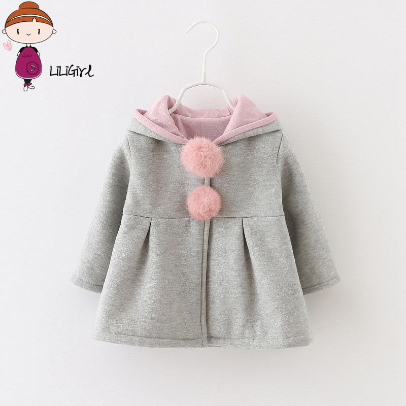 2018 Spring and Autumn Baby Girls Jacket Infants Ball Cute Rabbit Hooded Princess Jacket Coats Outwears Christmas Gifts Roupas 2