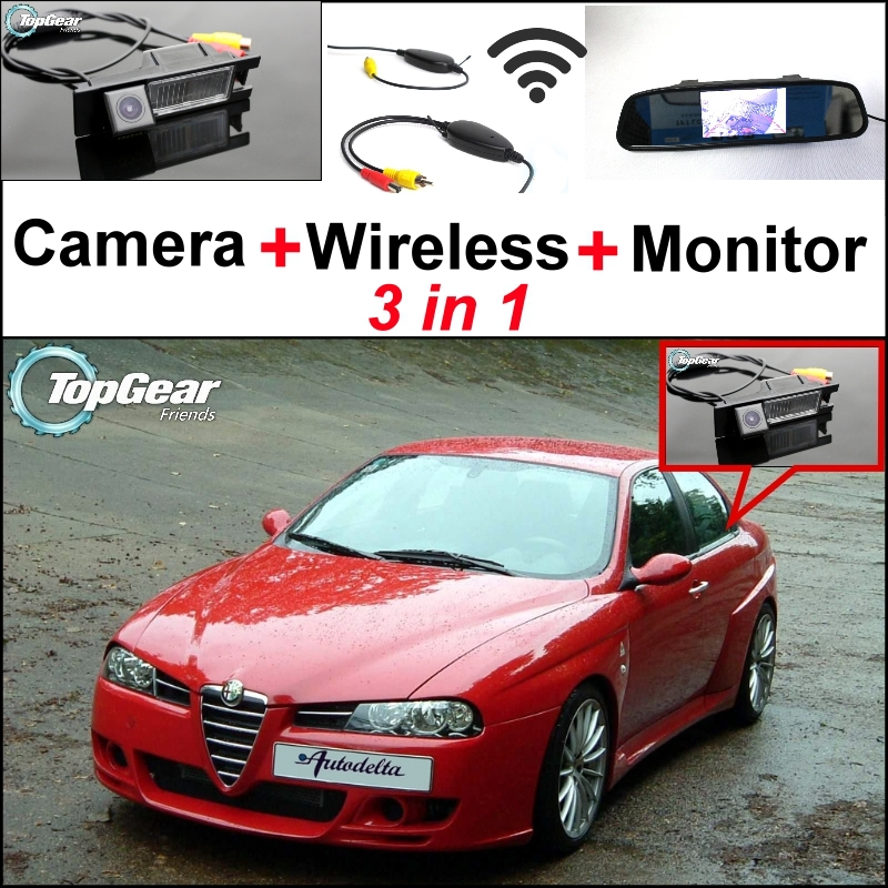 3in1 Special WiFi Rear View Camera + Wireless Receiver + Mirror Monitor DIY Parking System For Alfa Romeo AR 156 3 in1 special rear view camera wireless receiver mirror monitor easy diy backup parking system for jeep liberty 2002 2007