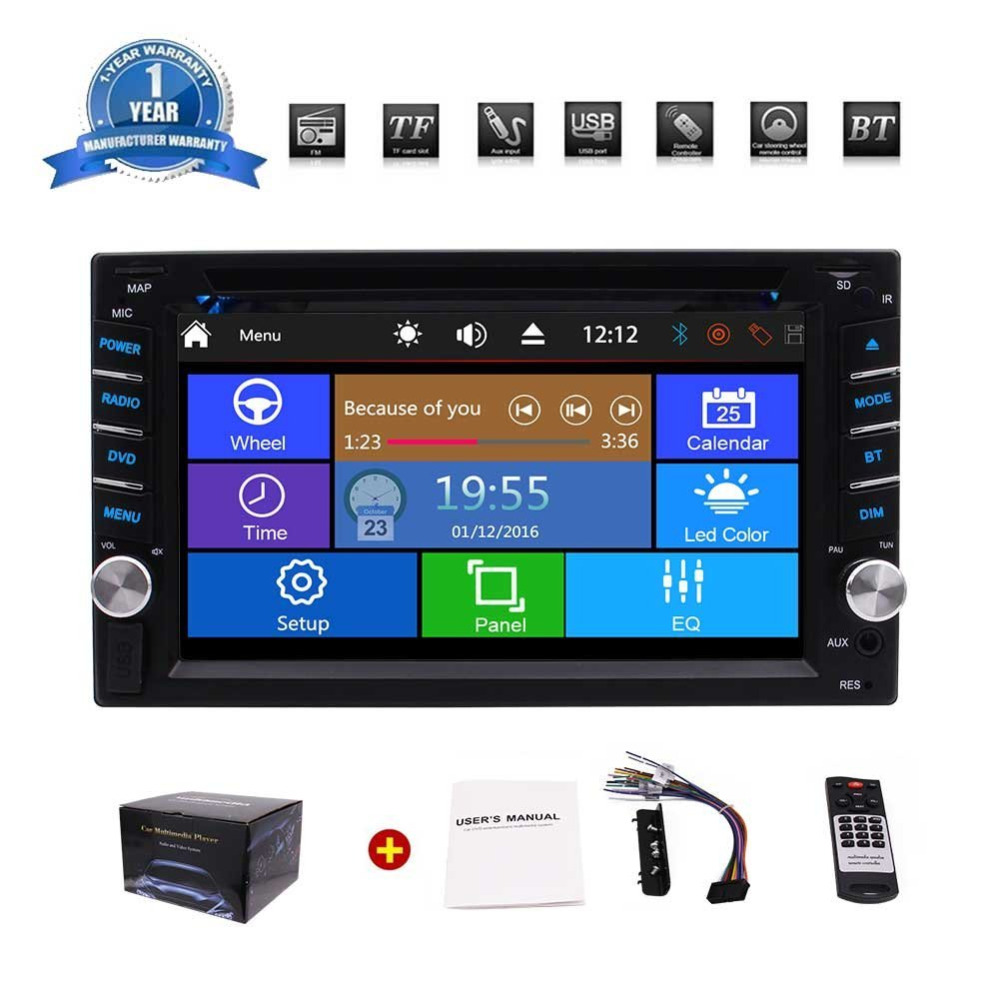 Eincar Car Stereo Bluetooth Double Din Car Radio Car Multimedia Player 6.2'' DVD CD Player Headunit Bluetooth Subwoofer+Camera cimiva 6 2 inch tft audio dvd sb sd bluetooth 2 din car cd player with automatic memory play car dvd player 12v