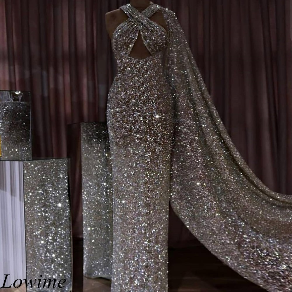Luxury Sparkly Silver Dubai Evening Dresses 2019 Long Mermaid Plus Size Criss Cross Arabic Prom Party Gowns With Long Cloak