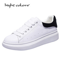 Silver Black White Split Leather Women Flat Platform Shoes Woman Fashion Solid Rubber Woman Shoes Lace Up Size 35 39 Ph19 36