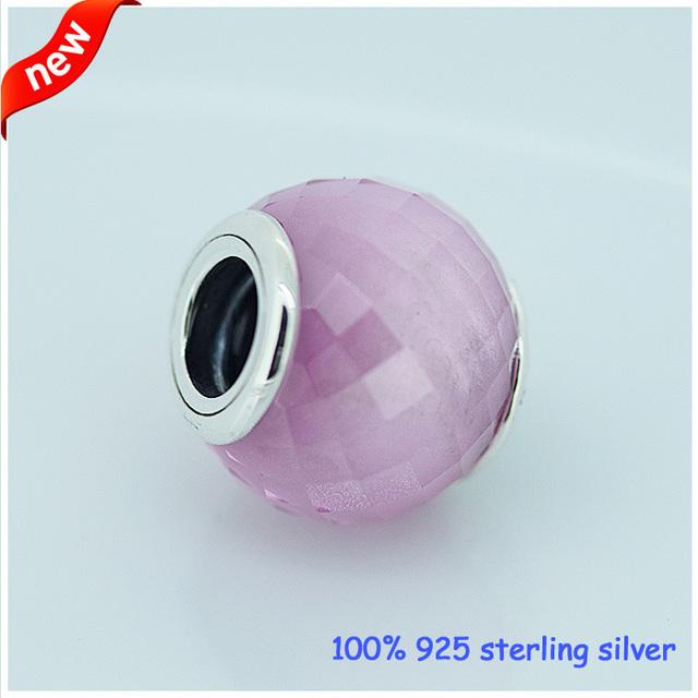 Serve para pandora pulseira abstrato facetada grânulos de prata com rosa zirconia novo 100% 925 sterling silver charm diy jóias por atacado