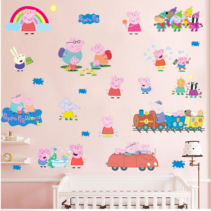 Cartoon Height Peppa Pig Pink Family PVC Decals Adhesive Wall Stickers  Mural Home Decor Kids Boy Bedroom Nursery Birthday Gift Part 96