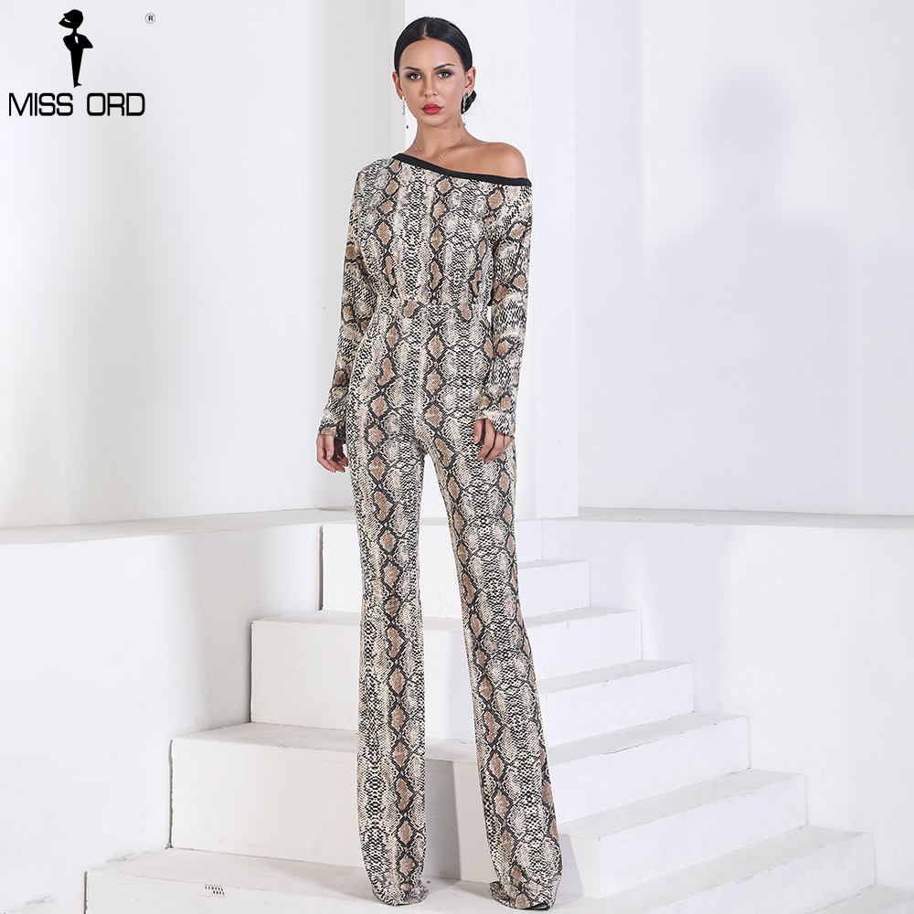 Missord 2019 Sexy  Long Sleeve Off Shoulder Snake  Jumpsuit  Print  Elegant  Playsuit  FT9721