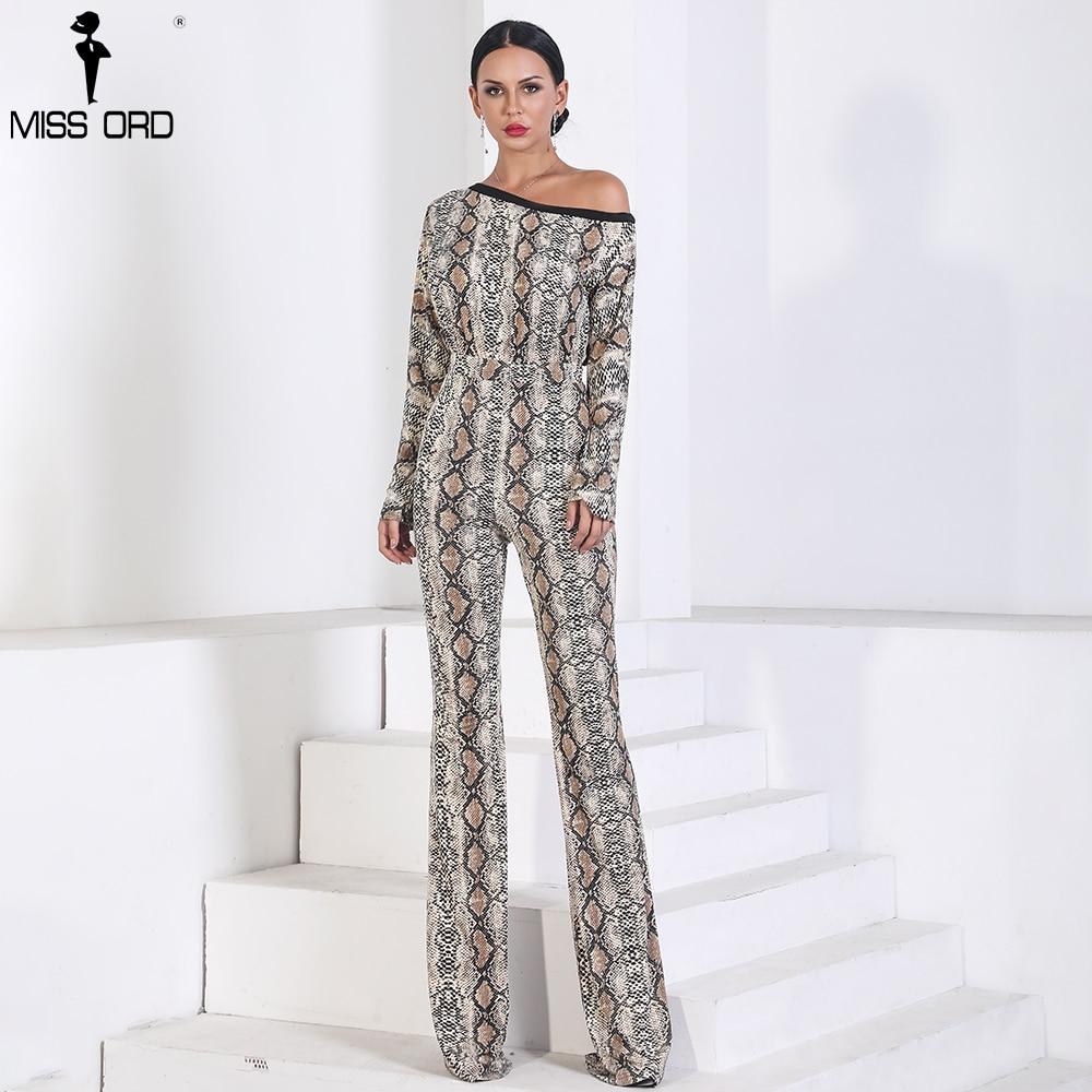 d61c955e5d95 Missord 2019 Sexy Long Sleeve off shoulder snake jumpsuit print Elegant  Playsuit FT9721