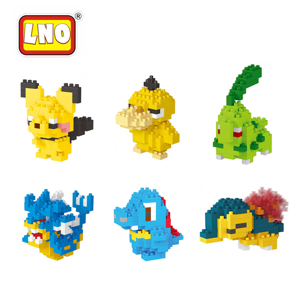 LNO Micro Size Nano Blocks Pikachu Series Japan Diamond Figures Anime Cartoon Building Bricks Children Game DIY Assembly Model 1500 2200 pcs big size plastic cute cartoon designs of mini nano blocks diamond mini block toys for children diy game