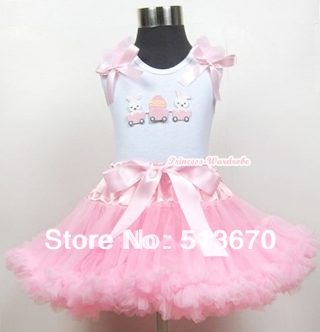 White Tank Top with Bunny Rabbit Egg Print with Light Pink Ruffles& Light Pink Bow & Light Pink Pettiskirt MAMG367 energie new pink tank top msrp $16 00