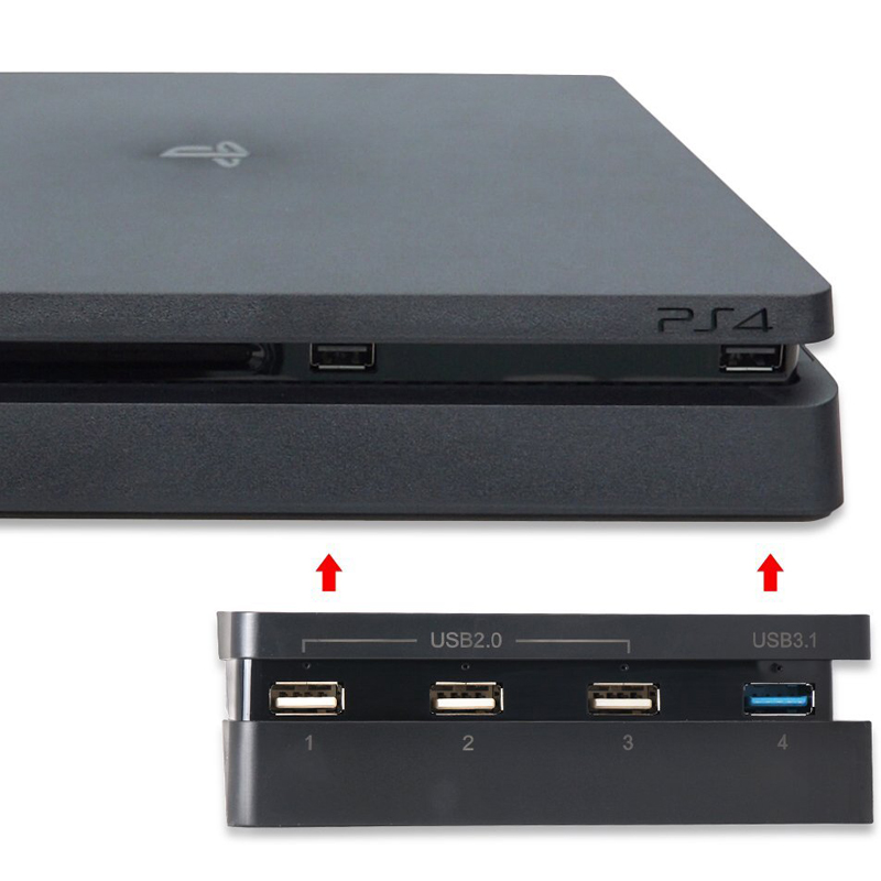 PS4 Slim HUB for Comfortable with Sony Playstation 4 Console 1 USB 3.0 + 3 USB 2.0 Ports