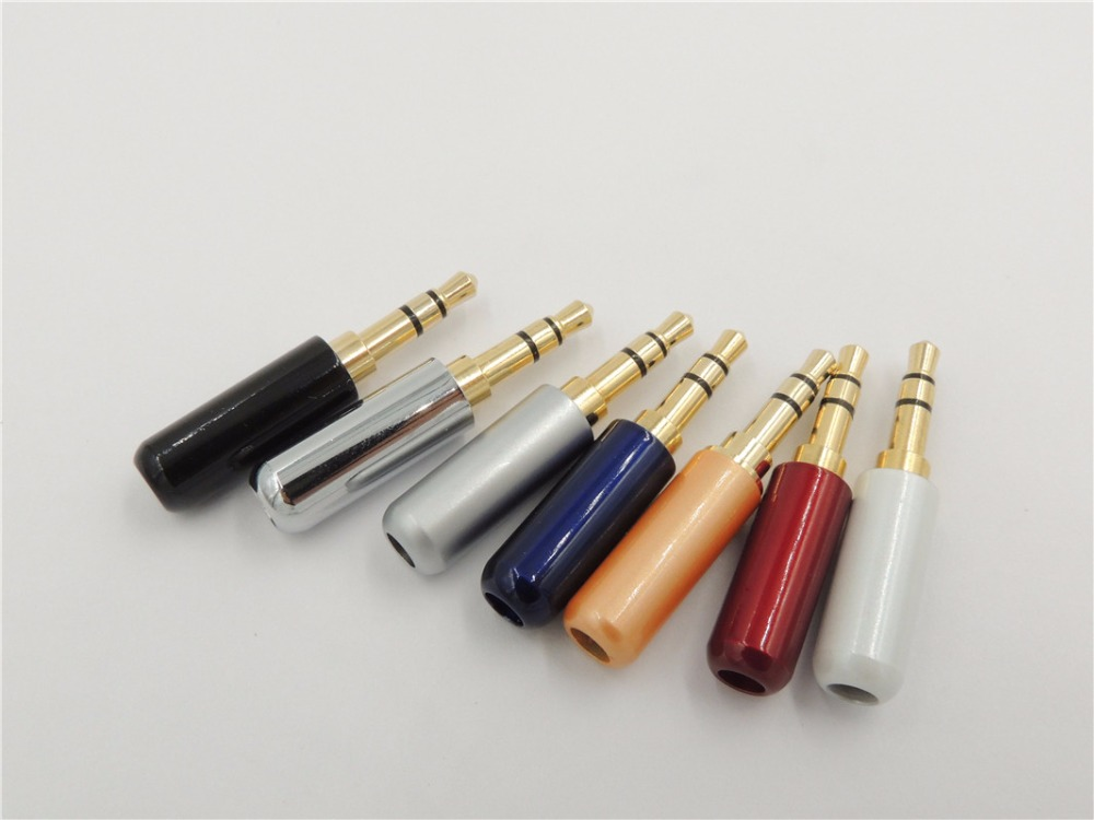 100PCS High quality 1 8 3 5mm 3 pole trs Stereo Male Plug Audio Plug for