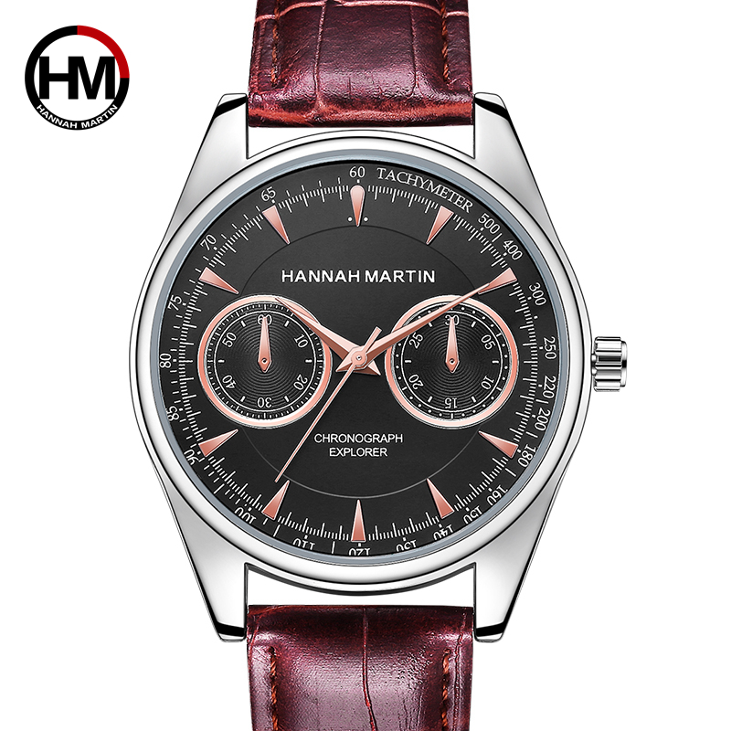 Hannah Martin Watch Men Luxury Brown Men's Quartz Wristwatch Waterproof Chronograph Explorer Leather Strap Relogio Masculino