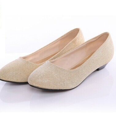 sweet princess round toe bridal shoes wedding shoes maternity bride flats  low-heeled shoes red gold colors office ladies shoes 70b5758c7124
