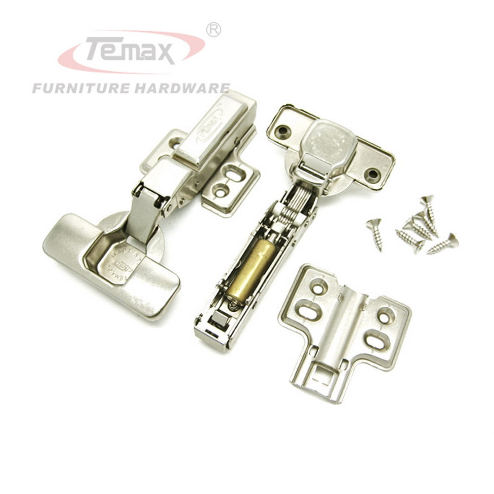 Half Overlay Soft Close Furniture Hardware Cabinet Hydraulic Buffering Hinge Kitchen Door Hinges Clip on Base Brass Buffer stainless steel door hinges hydraulic buffer automatic closing door spring hinge 125 78mm furniture cabinet drawer hardware