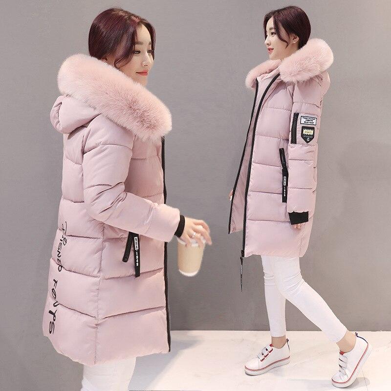 Parka mulheres casacos de inverno longo algodão casual pele com capuz jaquetas mulheres grossas inverno quente parkas feminino casaco 2019 mld1268