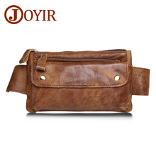 JOYIR Genuine Leather Men Waist Packs Travel Chest Bag Unisex Belt Bag Men Money Belt Waist