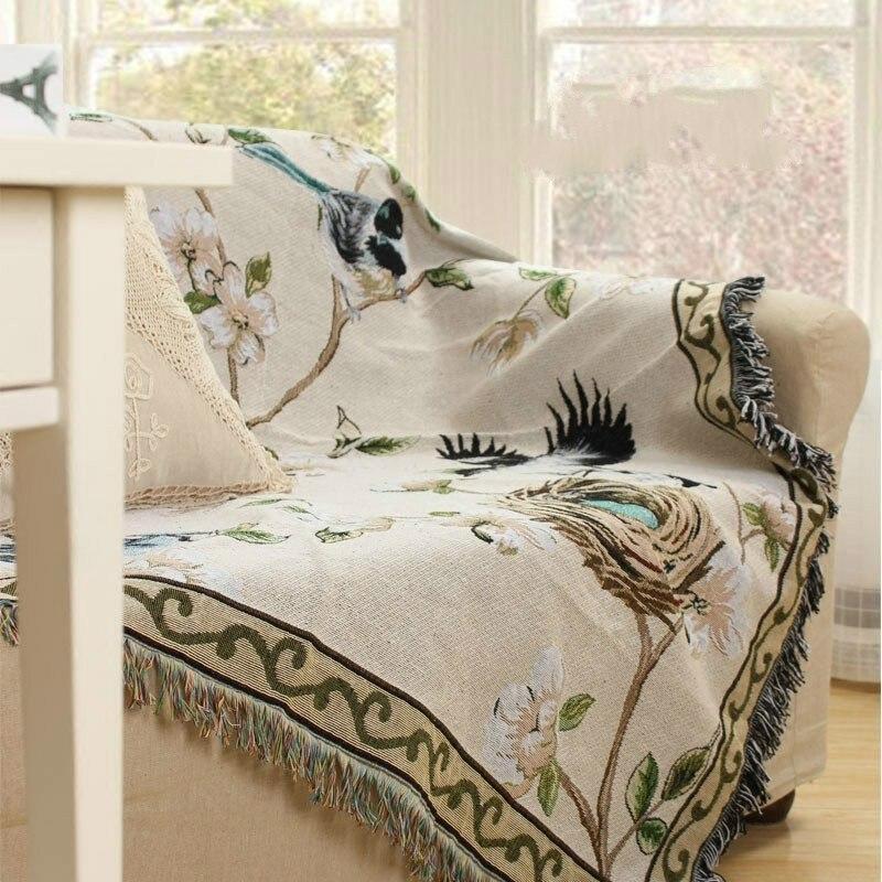 130x180 CM oiseau jeter couverture coton fil canapé couverture Cobertor doux couvertures pour lits gland bord