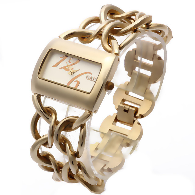 G&D Top Brand Golden Women's Bracelet Watches Fashion Casual Quartz Wristwatches
