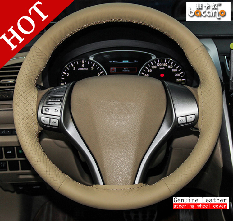 BACANO Car Universal DIY BEIGE Steering Wheel Hubs Cover Needles and Thread Artificial leather styling