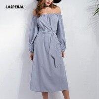 LASPERAL 2017 Sexy Off Shoulder Blue Striped Women Shirt Dress Side Split Elegant Long Sleeve Sashes