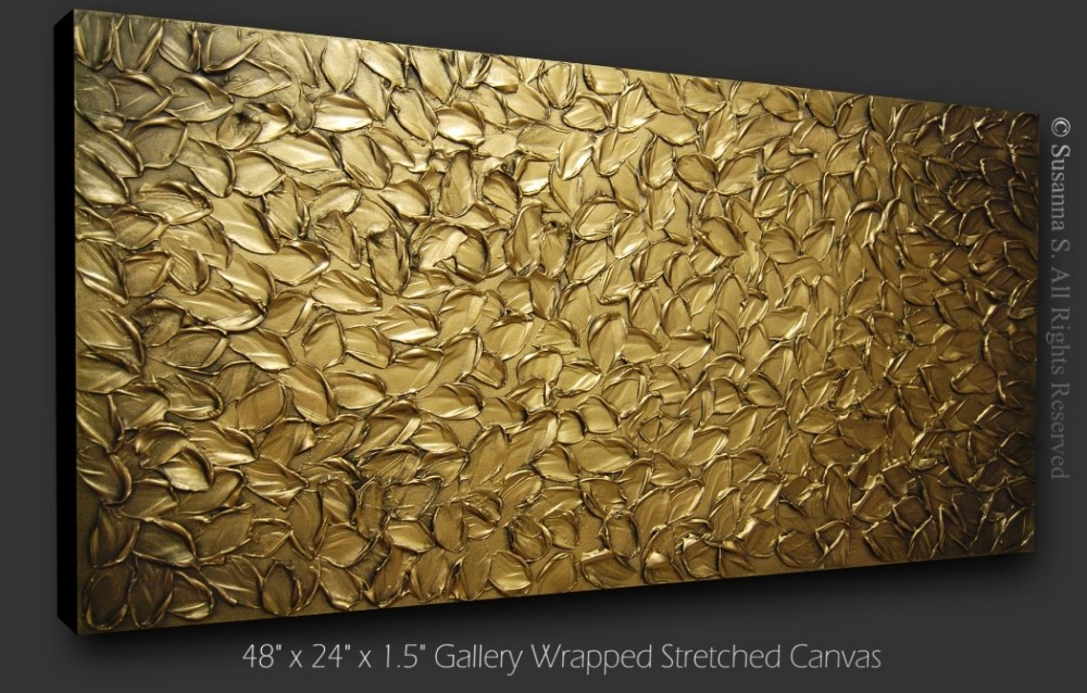 Acrylic Hand Painted Modern Golden Brown Impasto Textured Oil